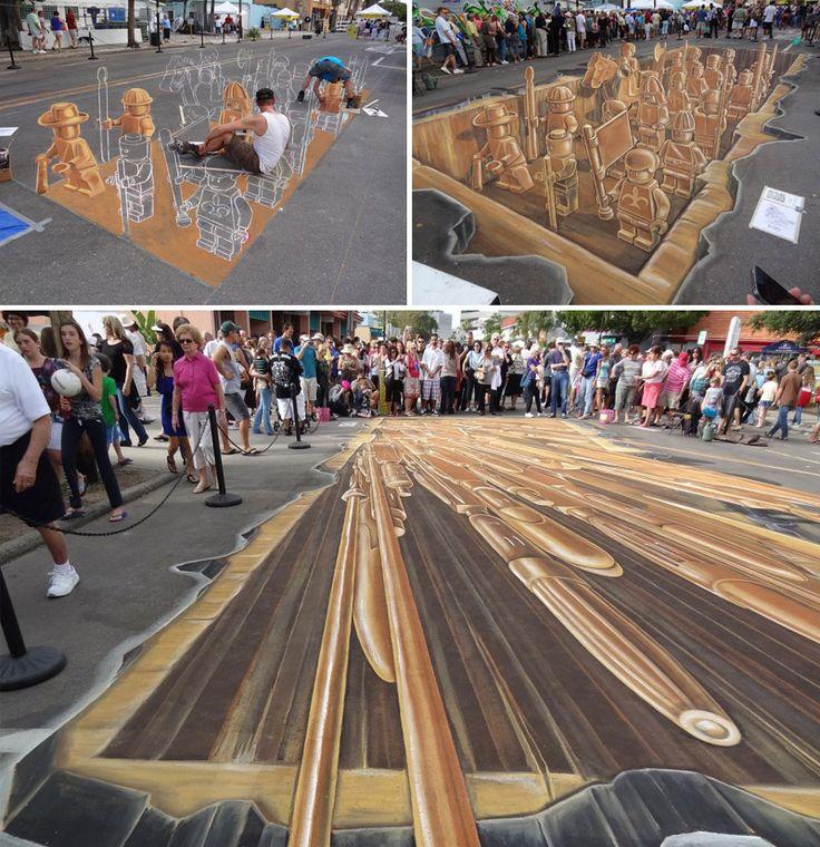 Uno degli artisti più noti di 3D street-painting è Leon Keer, autore di memorabili realizzazioni sulle strade di tutto il mondo! (da Il mondo visto da un'altra prospettiva: l'arte dell'anamorfosi! | DidatticarteBlog)