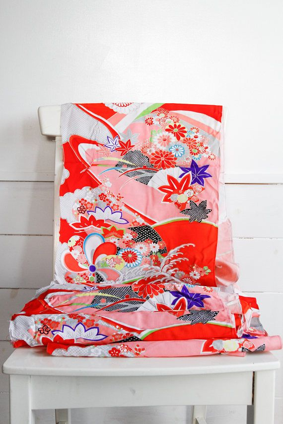 Japanese Floral Kimono Fabric Scrap Kimono Material Cut Offs
