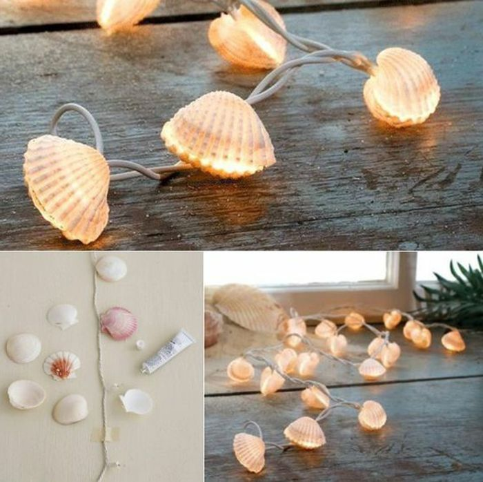 summer diys, fairy lights decorated with seashells, seen from two different angles, third image shows work in progress, fairy lights half-decorated with seashells, loose seashells and a tub of glue nearby
