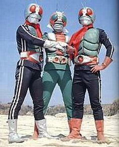Kamen Rider 1 (left), Kamen Rider V3 (middle), Kamen Rider 2 (right)