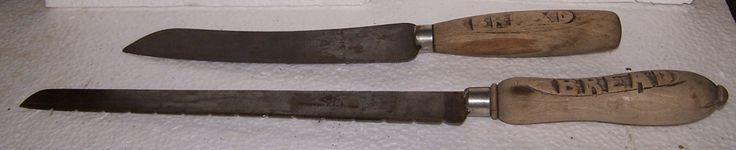 Antique English Sheffield Edwardian Carved Wood Handled Bread Knives K