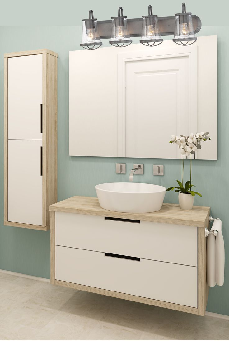 Pictured: Darby 4-Light Bath Bar Model # 87004-WI