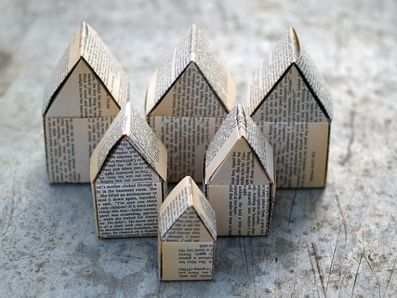 Paper houses, recycled book pages