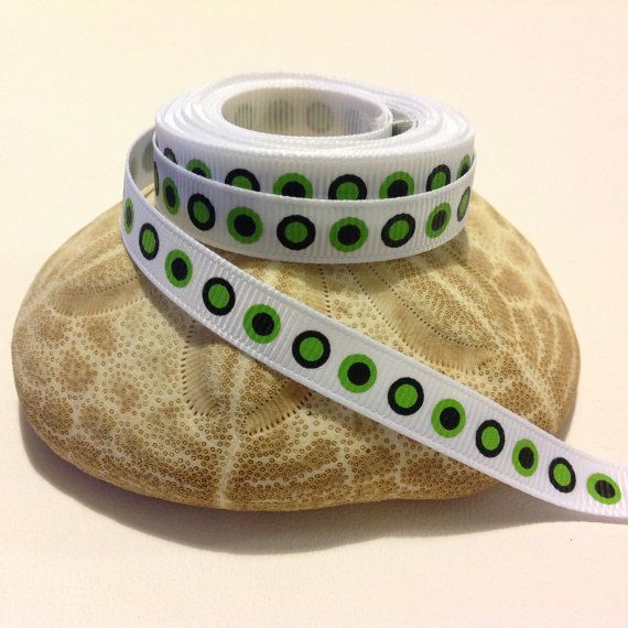 """4 Yards of 3/8"""" Grosgrain Ribbon, White with Black & Green Dots Pattern $3.99"""