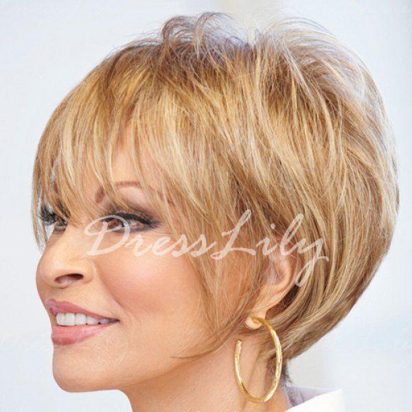 Trendy Full Bang Fluffy Sparkling Short Straight Human Hair Capless Wig For Women