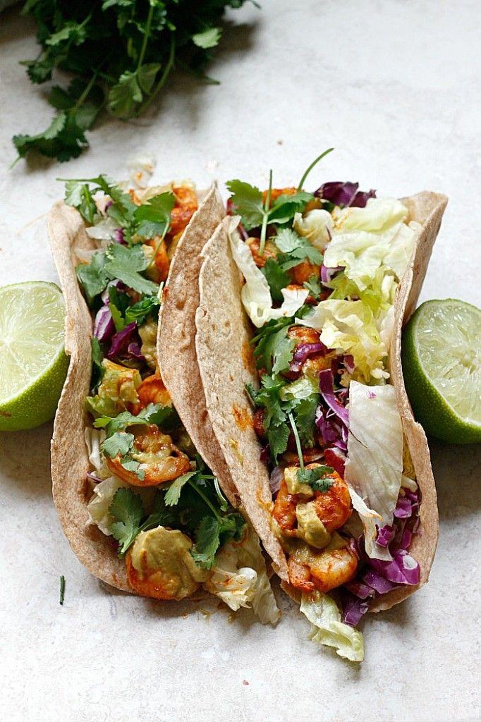 Spicy Shrimp Tacos with a Southwest Avocado Sauce