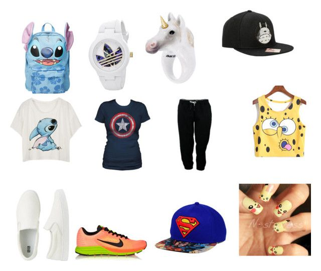 """Untitled #26"" by ziaria on Polyvore featuring Disney, Ghibli, Nach Bijoux, adidas, NIKE and Uniqlo"