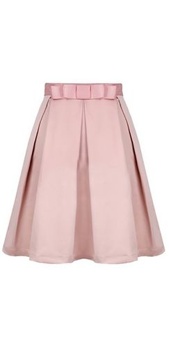 Pink Bow Waist Pleated Flare A Line Knee Length Midi Skirt