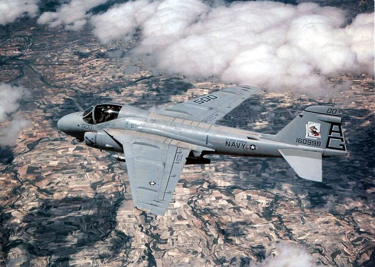 A U.S. Navy Grumman A-6E Intruder aircraft (BuNo 160998) from Attack Squadron 34 Blue Blasters, Carrier Air Wing 7 (CVW-7), navigates over the Spanish countryside during a low level training mission in support of Exercise MATADOR, a combined/joint US and Spanish exercise.