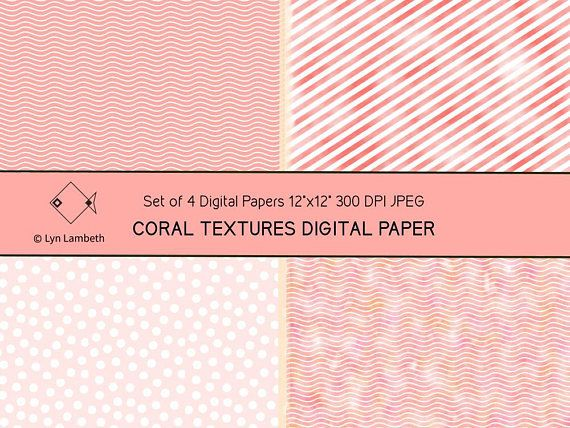 Coral textures digital papers, instant download, rose pink backgrounds