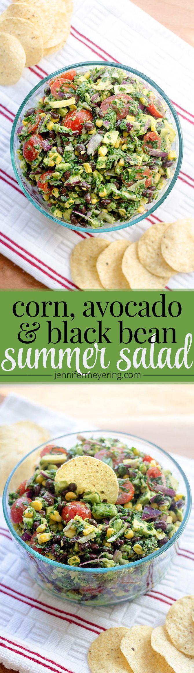 Corn, Avocado, & Black Bean Salad - added jalapeño & used lime juice instead of lemon. Pinterest - find
