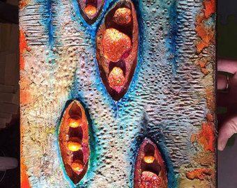 Portale – Gemischte Medien, Wandskulptur, moderne abstrakte Kunst vertikal