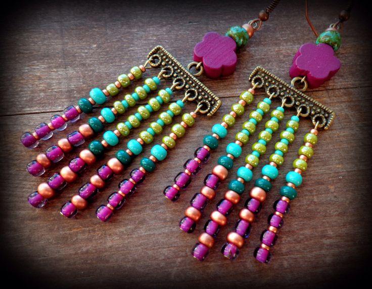green and purple, chevron earrings, long hippie earrings, boho chandelier earrings, bohemian dangle earrings, bohemian jewelry, flower child by anainc on Etsy https://www.etsy.com/listing/233387390/green-and-purple-chevron-earrings-long