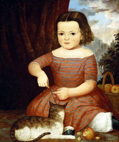 Folk art portrait painting of little girl with her kitten