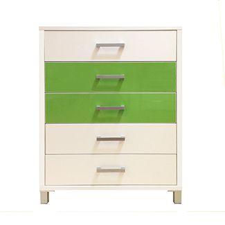 5 Drawer Tallboy// Snowdrift White and Green Gloss <3