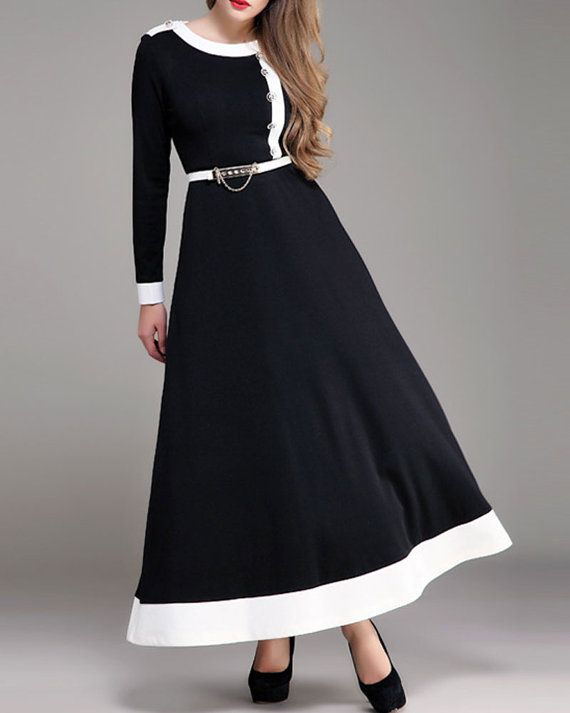 Long Sleeved Black and White Maxi Dress | Love how the belt is delibrately shifted to the left due to the design of the dress  |  Long by DressStory  | tags: hijab, hijab fashion, hijab style, hijab inspiration  |  etsy.com