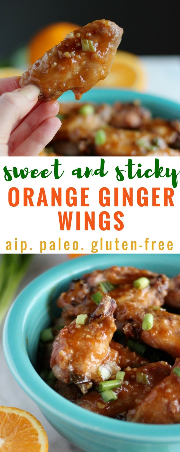 These Paleo and AIP chicken wings are roasted until crisp, then tossed in a sweet, sticky, and citrusy orange, ginger, and garlic sauce that is out of this world! | fedandfulfilled.com