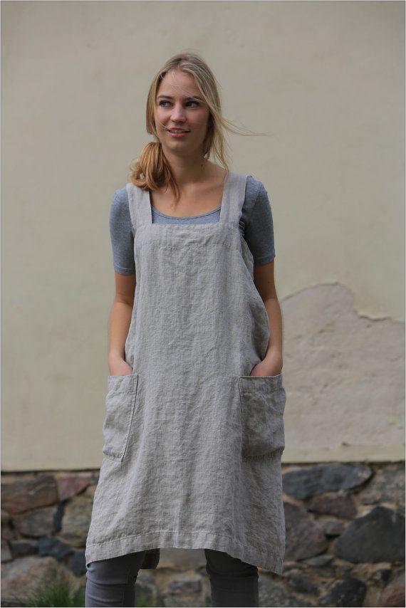 Linen pinafore / Linen cross back apron / Japanese style Apron