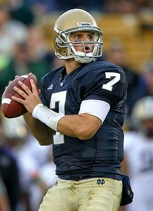 Jimmy Clausen # 7 Notre Dame Fighting Irish QB Like the Irish? Be sure to visit and LIKE our Facebook page at https://www.facebook.com/HereComestheIrish