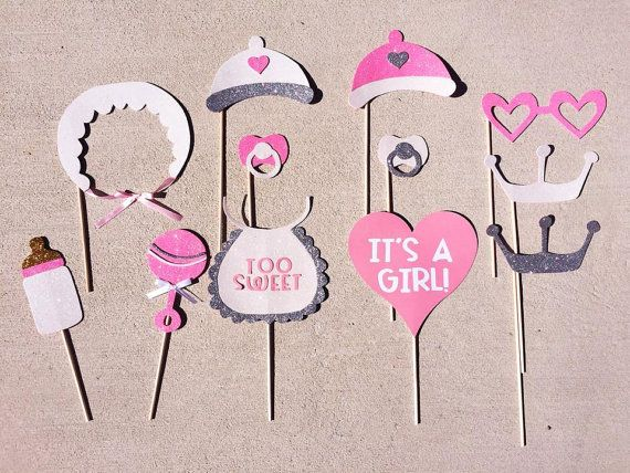 It's a Girl Baby Shower Photo Booth Props; Rattle, Bib, Pacifer, Bonnet, Milk Bottle Photobooth Props; Pink, Grey, and White Baby Shower -by Lets Get Decorative