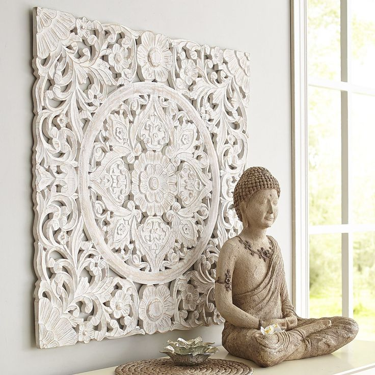 This Dramatic Wall Panel Finished In Antique White Is Very Heavy Very Detailed And Dare We Say Very Very Carved Wall Decor Carved Wood Wall Art Buddha Decor