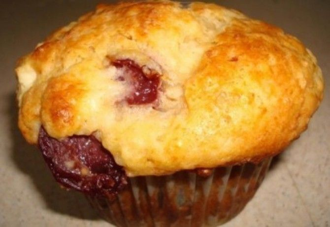 Cseresznyés-nagyon túrós muffin