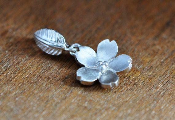 Silver Sakura Flower (Cherry Blossom) Pendant, Handmade Silver Pendant, Handmade Silver Jewelry #handmade #design