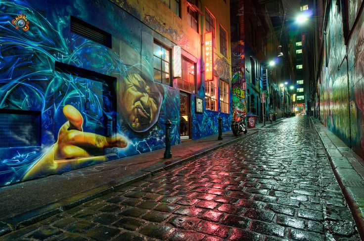 Best Hosier Lane Street Art Melbourne Graffiti Images On - Beautiful street murals appear on roads only when it rains