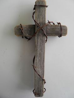 """12"""" Rustic Western Barnwood Cross with Rusty Barb Wire Wrapped Religious 