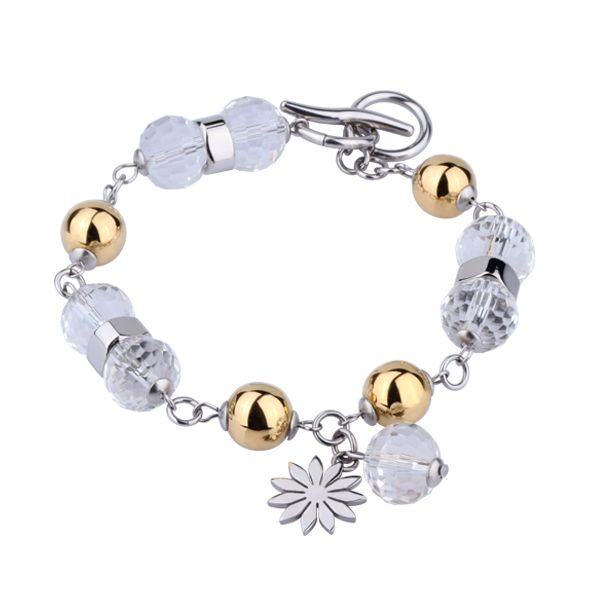 Polished Stainless Steel Bracelet with Gold plated and Clear Crystal Beads.  Toggle and Ring Clasp and Daisy Charm.