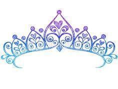 Hand-Drawn Sketchy Princess Tiara Crown Doodle Royalty Free Stock Vector Art Illustration