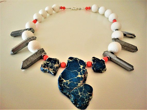 Lapis Lazuli Necklace with Crystal Coral and Hematite. Silver