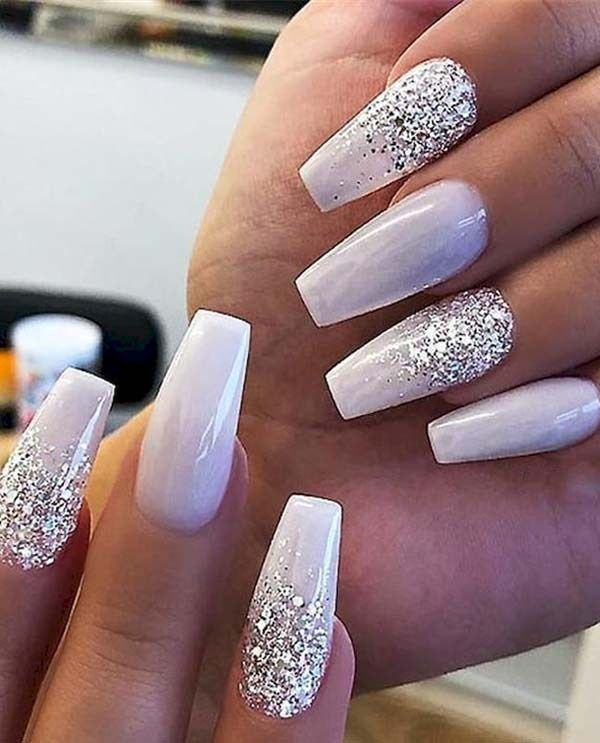 Gorgeous White Glitter Nail Art Designs for Girls in 2019