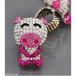 Hot Pink Crystal Cartoon Pig Cocktail Ring my daughter might like this she collects pigs