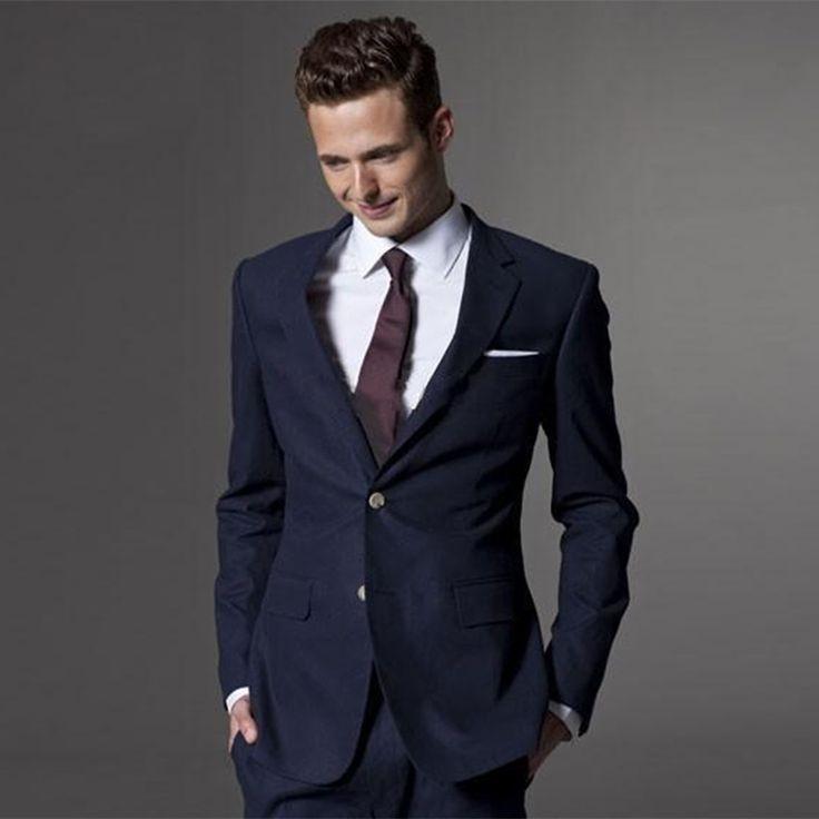 2017 Formal Men business Suit slim fit costume homme fashion blue mens wedding suits with pants groom tuxedos jacket+pant+tie