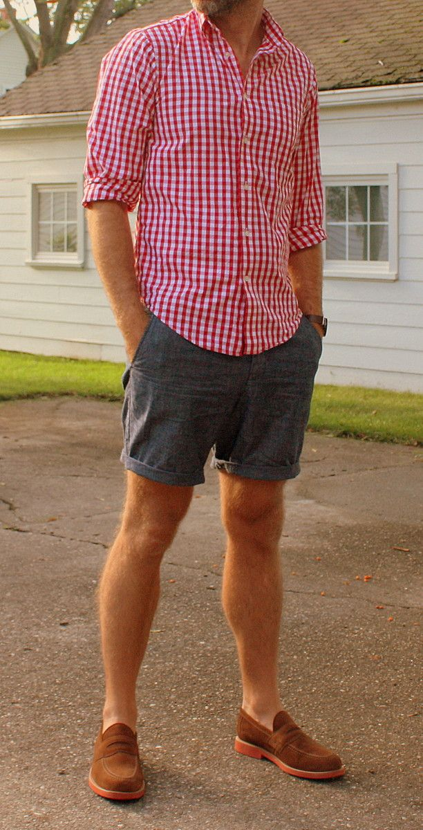2 - Brooks Bros gingham // JCrew chambray shorts // Mark McNairy loafers