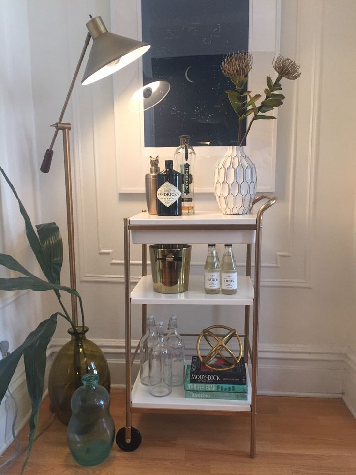 Custom BYGEL utility cart HACK for sale- gold bar cart by TheHacktory on Etsy https://www.etsy.com/listing/263304012/custom-bygel-utility-cart-hack-for-sale