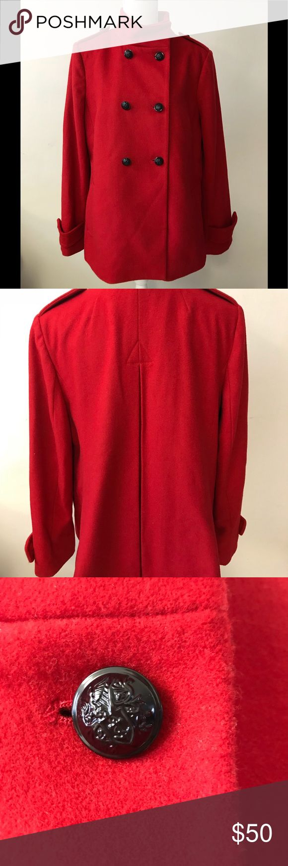 """Brand New Red Banana Republic pea coat Beautiful """"saucy red"""" Pea Coat.Great details on the buttons. Extra button attached inside jacket. Never worn. Just too big for me now. Banana Republic Jackets & Coats Pea Coats"""