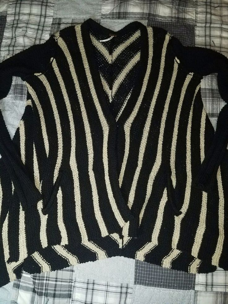 Free People Small Shark Hem Snap Front Cardigan Black & Tan Asymmetrical Sweater