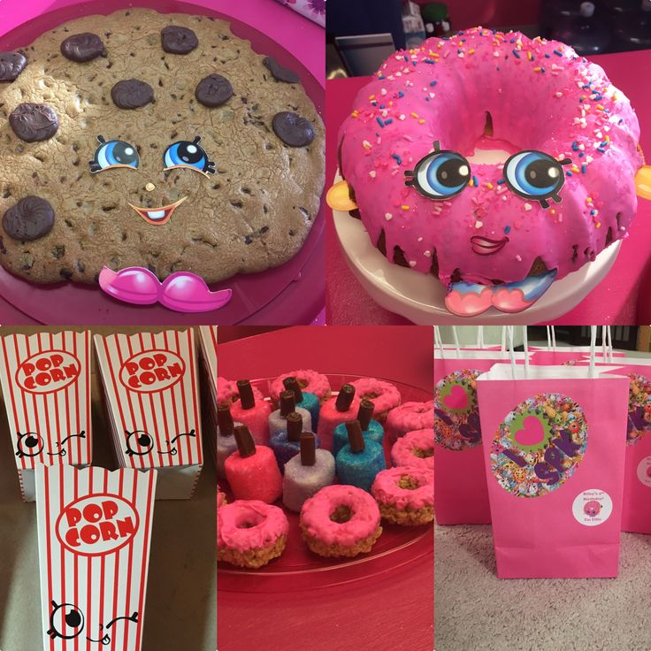 Homemade Shopkins birthday party. Kooky cookie cake, D'Lish Donut cake, Poppy Corn treats, nail polish marshmallow treats, and donut shaped Rice Krispie treats. Plus treat bags with personalized name stickers.
