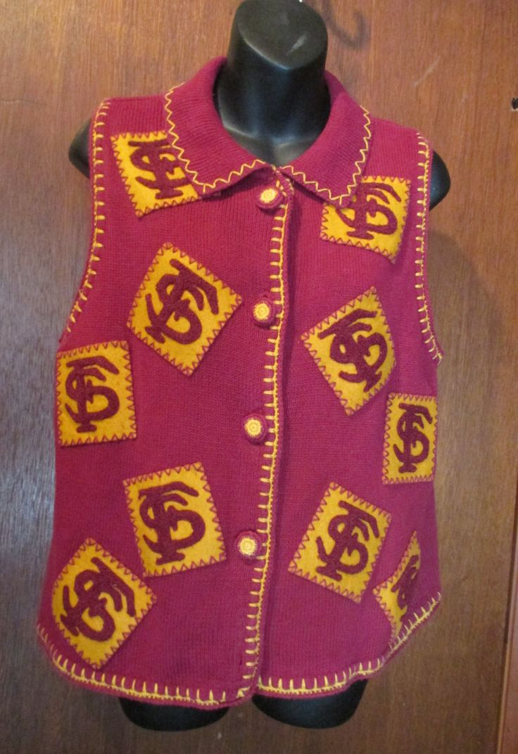 Sweater Vest, Vintage, FSU Florida State University, Garnet and Gold, Seminole Nation, College Apparel, College Football Sports, Team Spirit by HobbitHouse on Etsy