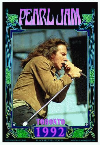 Commemorative poster for the Pearl Jam 1992 Toronto concert produced for the PJ fan club. 24 x 17 on card stock. Signed and numbered limited edition of 300 by legendary poster designer Bob Masse.