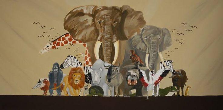 Afrika 100x50 cm #Afrika #Elefant #lion #Giraffe #kunst #art #painting #malerei