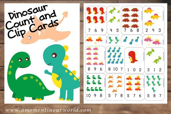 These {FREE} Printable Dinosaur Count and Clip Cards are a great way to learn to count from 1-12.