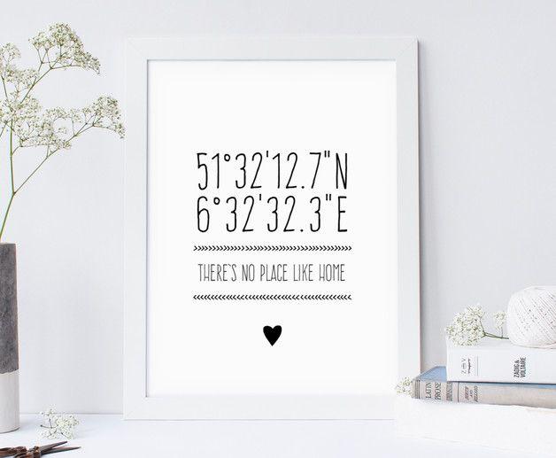 TWÓJ DOM WSPÓŁRZĘDNE SPERSONALIZOWANY. PLAKAT - A4 - WeJustLikePrints - Plakaty typograficzne