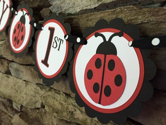 Ladybug birthday banner Ladybug 1st birthday by MarinasCraftShop