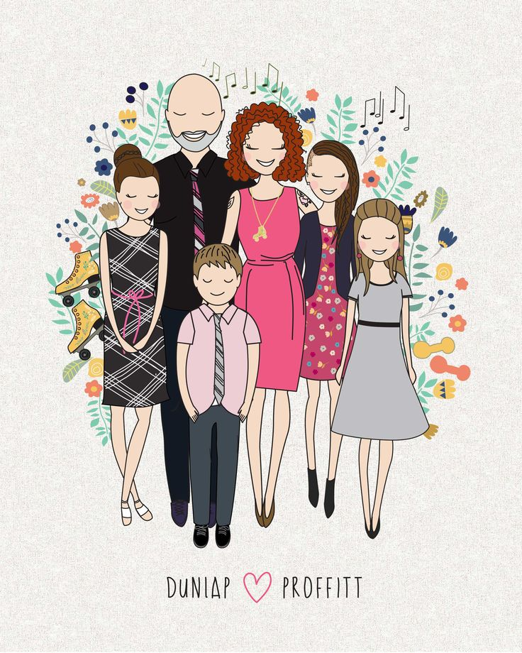 Custom Illustrated Family Portrait by Be My Paper/Szonja Kiss