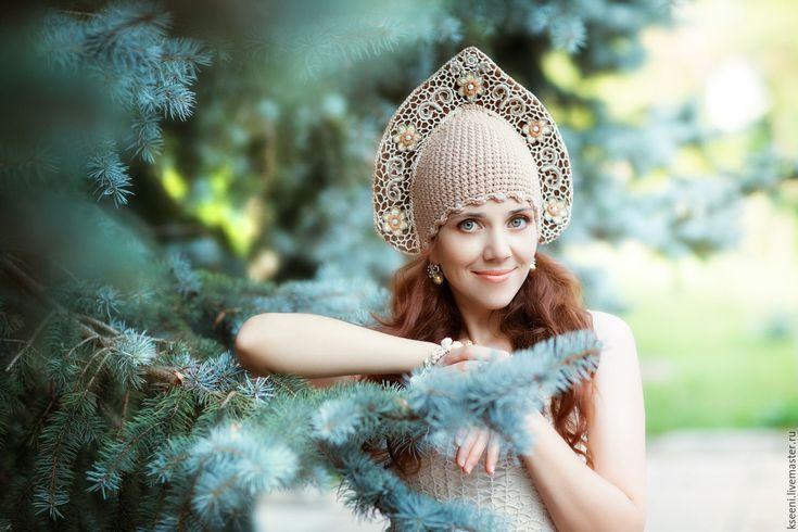 Купить Кокошник - коричневый, цветочный, кокошник, подарок, русский, русский стиль, русский сувенир, сувенир
