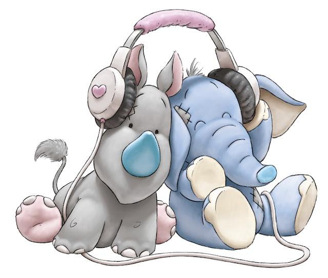 Blue Nose Friends ~ Shane Made Art   baby rhinoceros blue horns  and blue baby elephant listening sharing headphones  for music February 2015