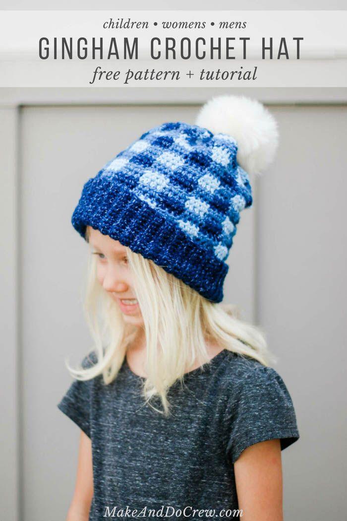 Free Crochet Plaid Hat Pattern For Kids Women Men Crochet Hats